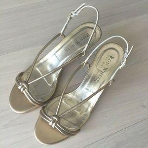 Ron White Heels Gold Metallic Nappa Leather Italy